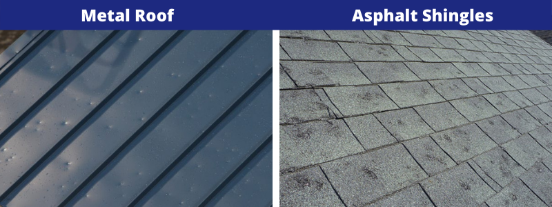 A metal roof vs asphalt shingles can respond differently to weather damage in Fort Wayne, IN.