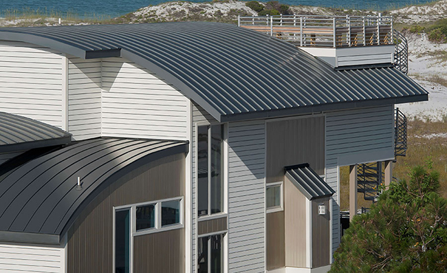 Curved metal panels offer a very unique approach to both modern and rustic designs.